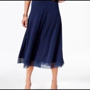 JM Collection Plus Size Mesh-Hem Midi Skirt